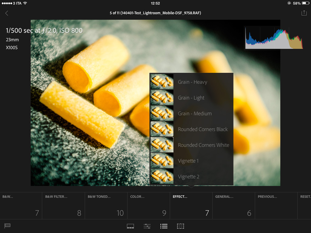 Applicazione di effetti e preset in Lightroom Mobile