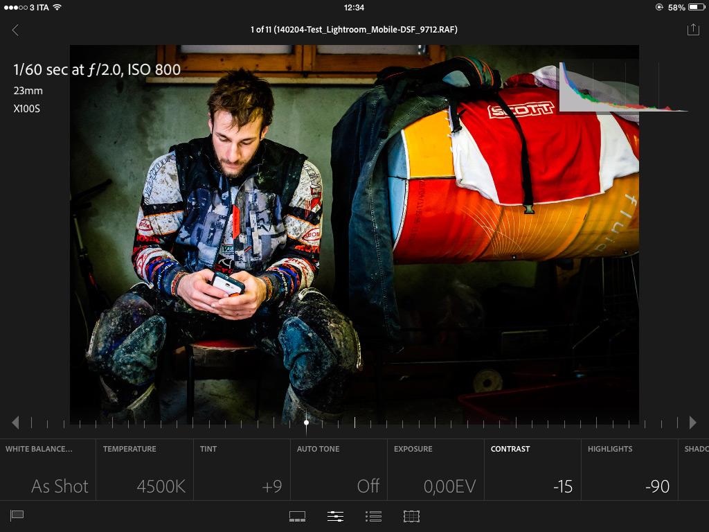 L'interfaccia utente per l'editing in Lightroom Mobile