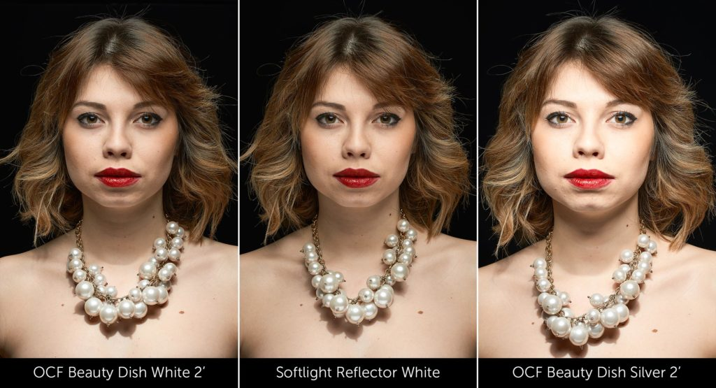 OCF Beauty Dish White vs Softlight Reflector White vs OCF Beauty Dish Silver