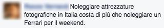 Commento FB noleggio attrezzatura - FotografiaProfessionale