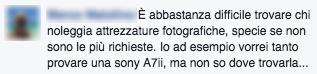Commento FB noleggio attrezzatura #2 - FotografiaProfessionale