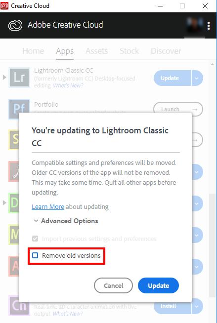 Lightroom 6/CC Rimuovi Vecchia Versione