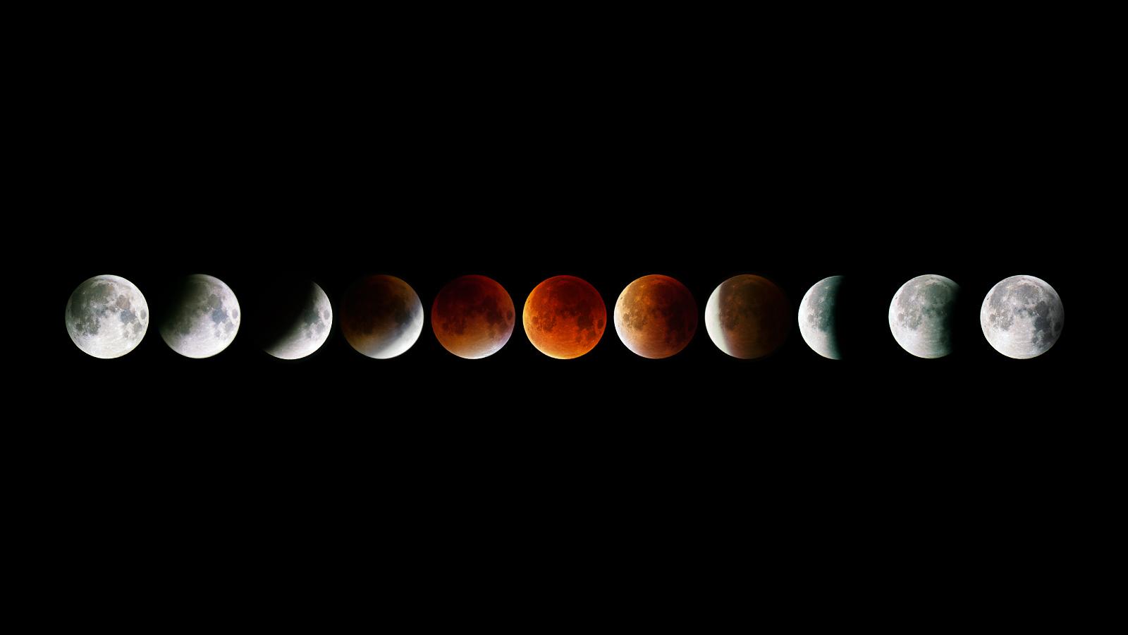 Le fasi di eclissi di luna con un teleobiettivo (Copyright Jez Hughes Photography)